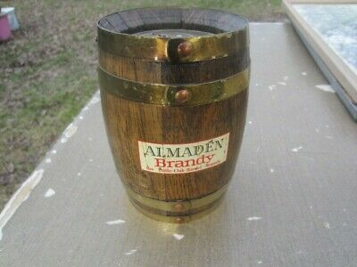 Vintage Wood Wooden Almaden Brandy Barrel Bank