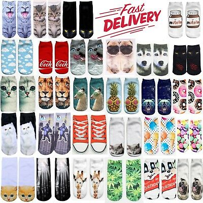 Cute Pair3D Animal Printed Unisex Men Women Fashion Designer Low Cut Ankle Socks