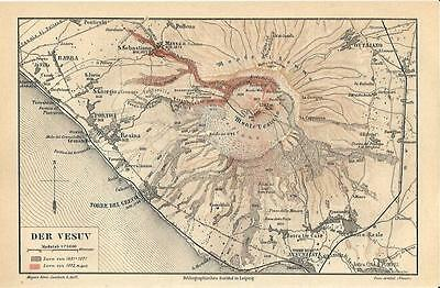 Carta geografica antica VESUVIO Campania Napoli 1890 Old antique map