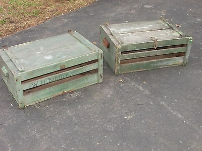 Pr. Antique American Primitive Crates In Old Green Paint for End Tables Trunk