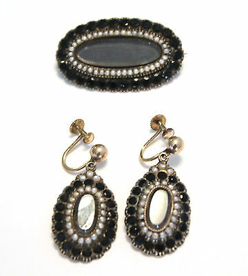 Antique Victorian Seed Pearl Jet Mourning Set Brooch Earrings Hair