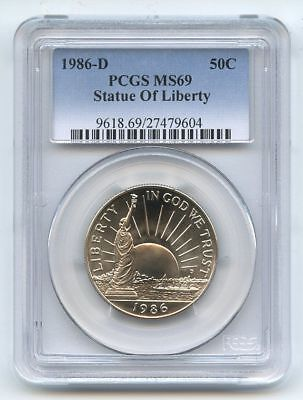 1986 D 50C Statue of Liberty Commemorative PCGS MS69
