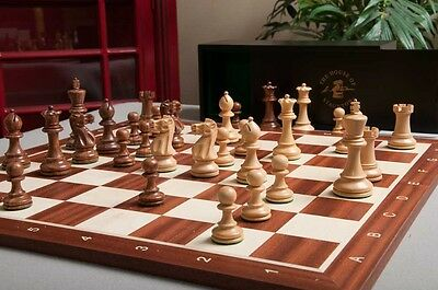 The Grandmaster Chess set, Box, & Board Combination - Golden Rosewood and Natura
