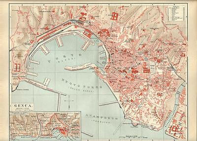 Carta geografica antica GENOVA pianta della città 1890 Old antique map