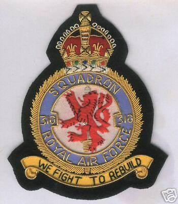 UK English RAF Volunteer Royal Air Force WWII Fighter Czech Squadron 310 Patch