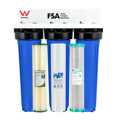 """Whole House Water Filter System 20"""" x 4.5"""" Triple Pressure Gauge +Filters 1-9TPG"""