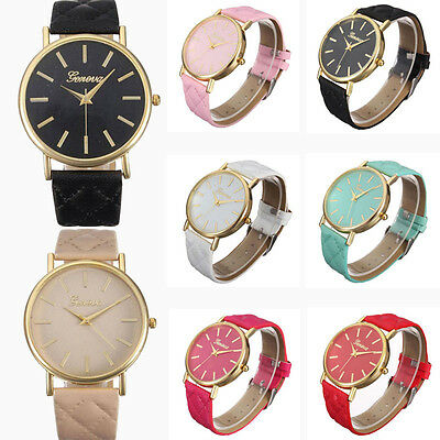Moda Donna Orologio Casual Band Cuoio Romano analogico da polso al quarzo Watch