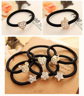 Cute 10Pcs Crystal Elastic Hair Ties Band Ropes Ring Ponytail Holder Accessories