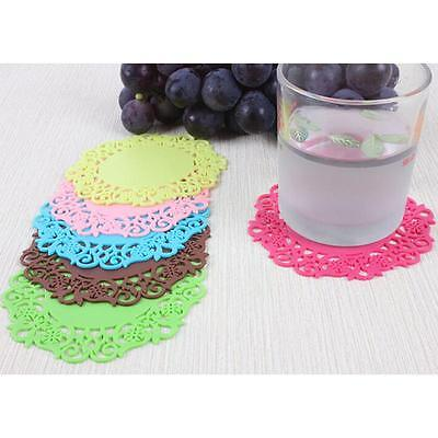 6pcs Tapis Napperon de Table Protection Dessous de Verre Tasse en Silicone