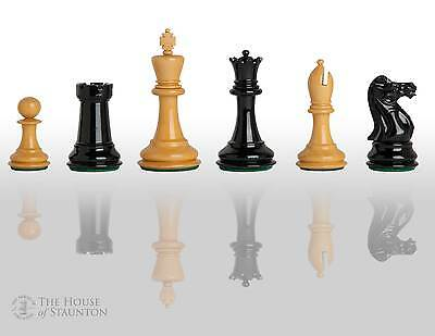 """The Professional Chess Set - Pieces Only - 3.75"""" King - Black and Natural Lacque"""