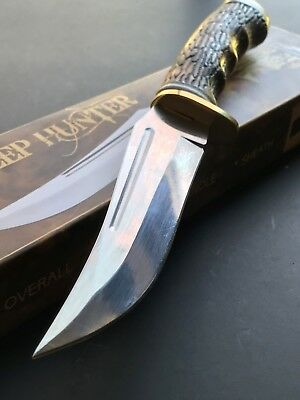"Hunting Knife Razor Sharp 9.5"" Stag Upsweep Skinner Skinning Survival Full Tang"