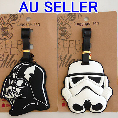 1 X Luggage School Tag STAR WARS Stormtrooper or Darth Vader Suitcase Bag Travel