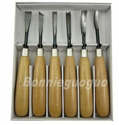 6 Piece Wood Carving Hand Chisel Tool Set Woodworking Professional Gouges New