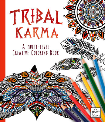 Adult Creative Colouring Book Tribal Karma Multi Level 88 Pages A4 Size