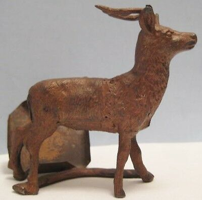Old Lead Christmas Reindeer Figure w/ Tin Stand for Photo or Calendar Holder
