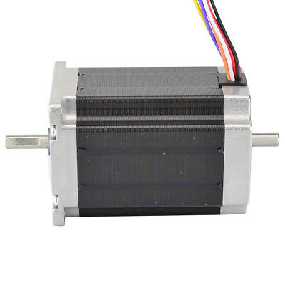US Ship Nema 23 Stepper Motor 2.83Nm 4A 8-wire 6.35mm Dual Shaft CNC Mill Lathe
