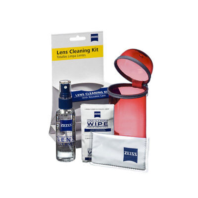 NEW Zeiss Lens Care Kit w/ Reusable Red Case Lens Spray Wipes Cleaning Cloth