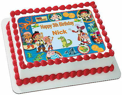 Jake And Neverland Pirate  Edible  Icing Cake Topper Party Image Frosting Sheet