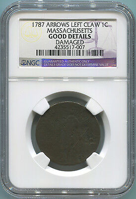 1787 Arrows Left Claw Colonial 1 Cent. Massachusetts. NGC Good Details.