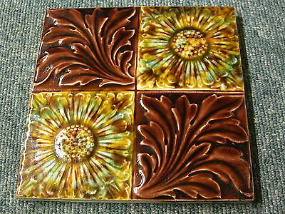 "Antique fireplace tile 6"" x 6"" majolica embossed"