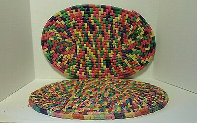 2 Placemats Pink Purple Yellow Green Orange Straw Weaved Oval