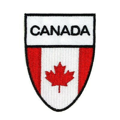 """Maple Leaf """"Canada"""" National Flag Shield Patch Team Badge Iron-On Applique"""