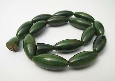 1930s ART DECO MARBLED GREEN BAKELITE BEAD NECKLACE 39 GMS PRAYER WORRY BEADS