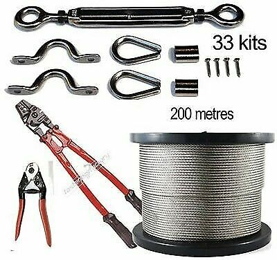 33x Stainless Steel Balustrade Kits 316 200m 7x7 Wire Hand Swaging Tool Cutters