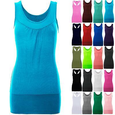 Womens Celeb Ruched Gathered Neck Sleeveless Ladies Plain Stretchy Long Vest Top