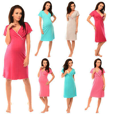 Purpless Maternity 2in1 Pregnancy and Nursing V-Neck Nightdress Sleepwear 1055n