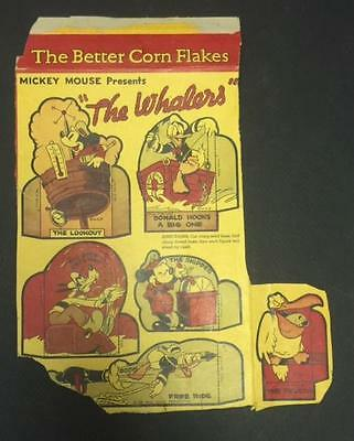 "1939 Post Toasties Mickey Mouse Cereal Box Cut-Outs ""The Whalers"""