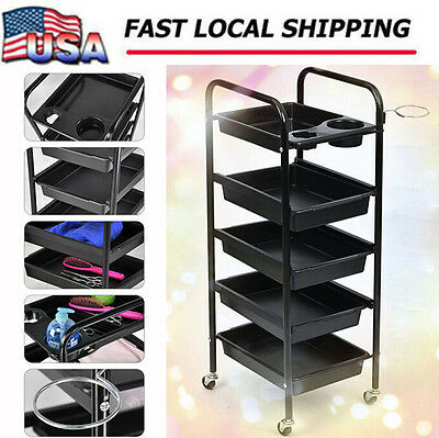 5 Tier Salon Hairdresser Beauty Spa Coloring Hair Trolley Rolling Storage Cart