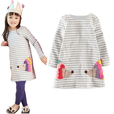Stylish Kids Girls Birthday Party Long Sleeved Shirt A-line Striped Cotton Dress