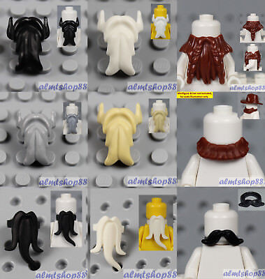 NEW Lego Pirate Minifig BLACK BEARD Male Minifigure Man Hair Wizard Neck Gear