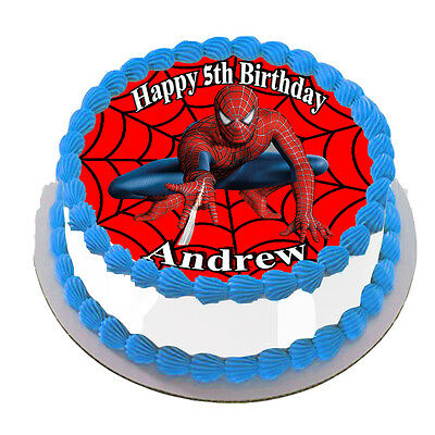 Spider Man  Real Edible Icing Round Cake Topper Party Image Frosting Sheet