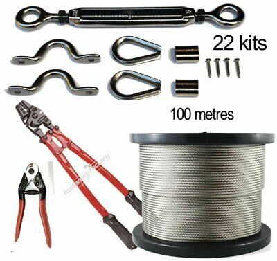 Stainless Steel Balustrade 22 Kits 316 100m 7x7 Wire Hand Swaging Tool Cutters