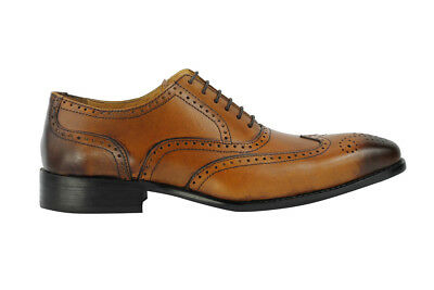 Mens Tan Real Leather Smart Casual Vintage Oxford Lace up Brogue Shoes UK Size