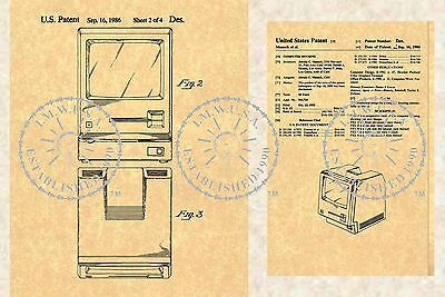 STEVE JOBS 1986 US PATENT for the APPLE MACINTOSH Personal Computer PM#903
