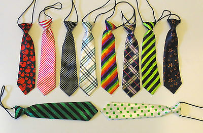 Children/kids/boys/girls  Satin Finish Pre-Tied Funky Pattern Elastic Neck Tie