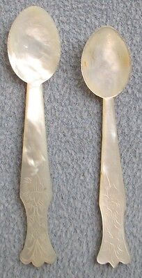 Set Of Two, Asian Motif Etched Mother-Of-Pearl Caviar Spoons