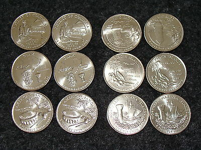 """COMPLETE 12 coin BU """"2009"""" P&D  DC & US TERRITORIES QUARTER set from mint rolls"""
