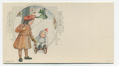 Winter blotter - girls and sled - unused