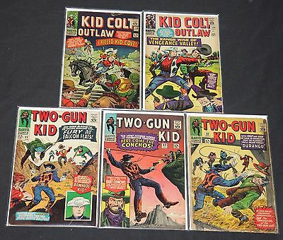 Vintage Marvel Silver Age Western 5pc Low to Mid Grade Comic Lot Two Gun Kid