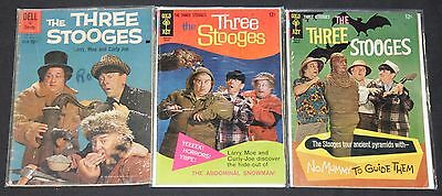 Vintage Dell/Gold Key Silver Age Three Stooges 3pc Mid Grade Comic Lot TV Movie