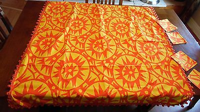 "Retro Bright Orange Yellow Sun Tablecloth With Fringe & 4 Napkins 45"" X 45"""