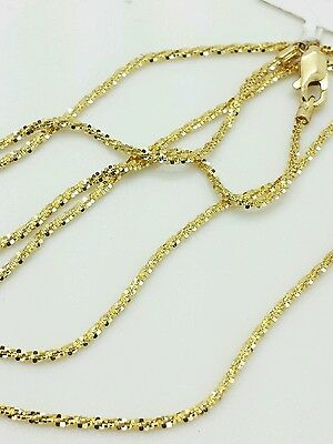 """14k Solid Yellow Gold Diamond Cut Sparkle Necklace Chain 20"""" 1.1mm"""