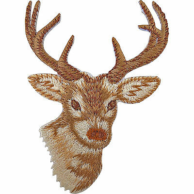 Deer Patch Sew On / Iron On Badge Embroidered Reindeer Head Christmas Decoration