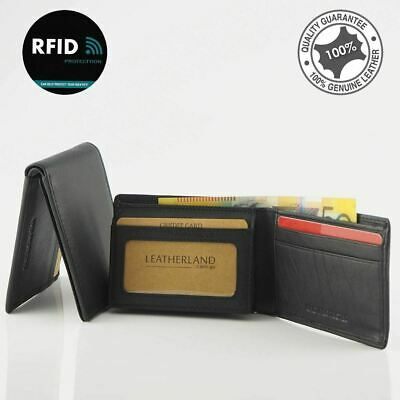 Genuine Men's Soft Cowhide Leather Anti-RFID Small Wallet Black Slim New