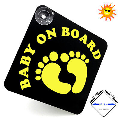 BABY ON BOARD - FLUORESCENT YELLOW vinyl car window sign with suction cups.