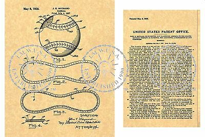 Draper Maynard Company PATENT Art Print for a MLB BASEBALL Issued in 1928 PM#910